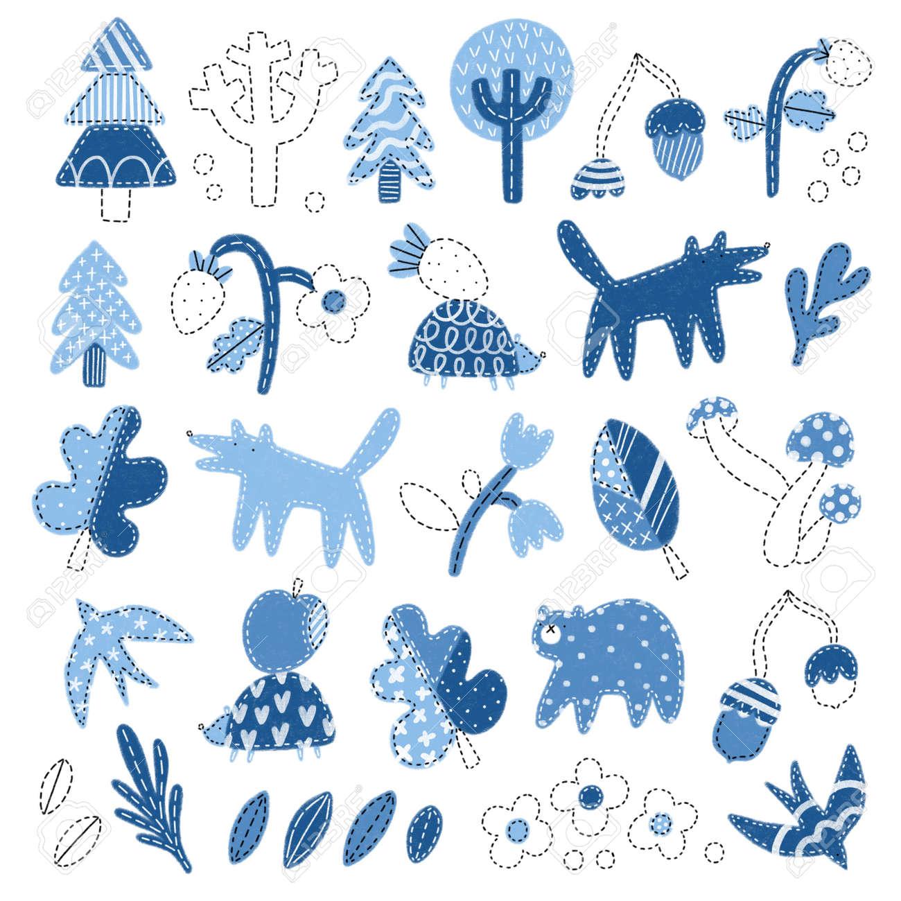Patchwork denim woodland illustrations set, isolated on white background, cute forest nursery doodles - 166198595