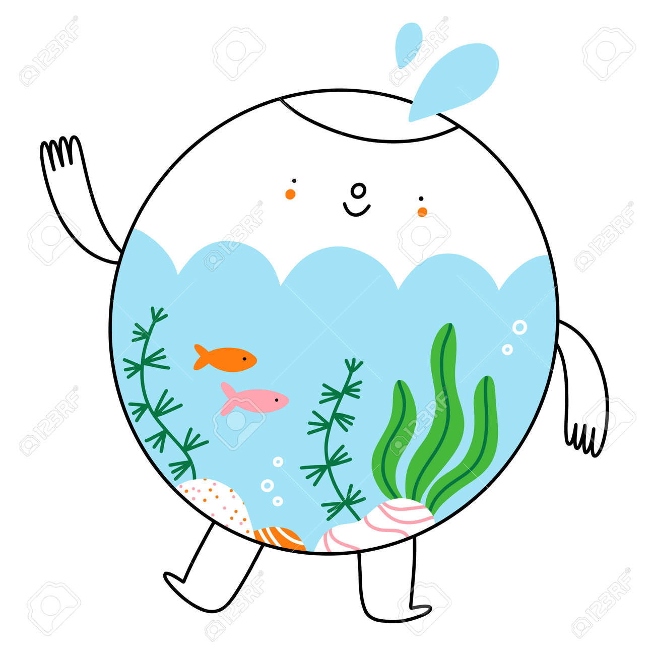 Cute little aquarium character with fish and seaweed, cartoon vector illustration isolated on white background - 166925069