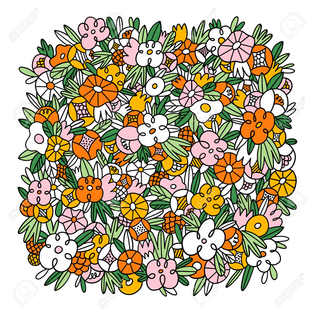 Wild flowers and grass vector square background template, crazy colorful floral doodles, isolated on white background - 166872876
