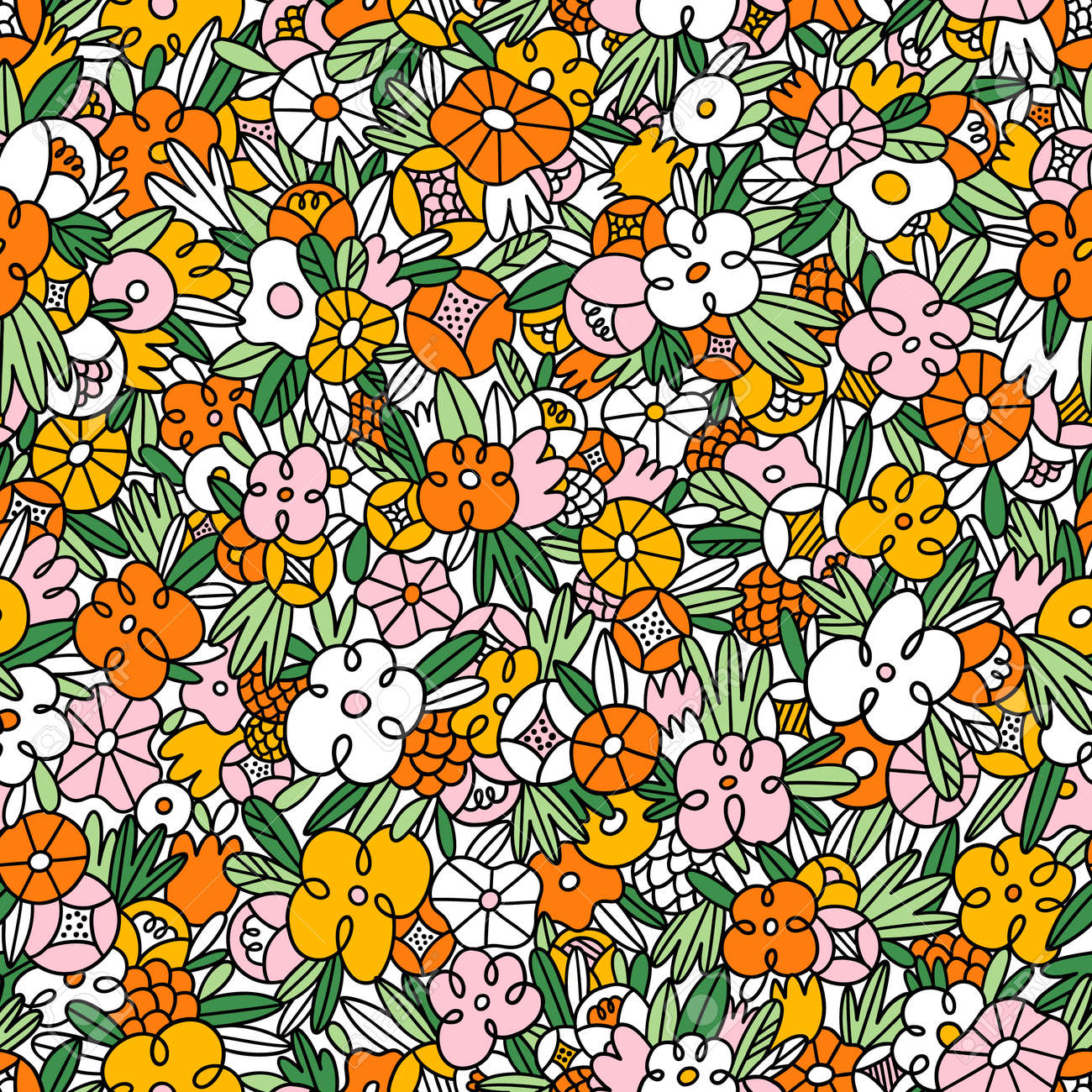 Wild flowers and grass in crazy doodles style, colorful vector seamless pattern - 167189532