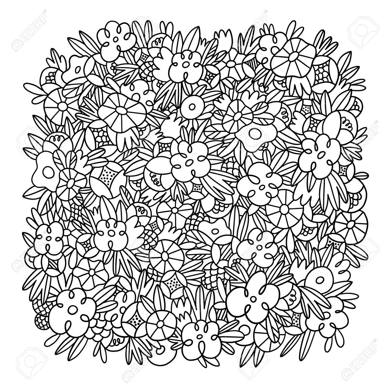 Wild flowers and grass vector square background template, crazy black and white outlined floral doodles, isolated on white background - 167089788