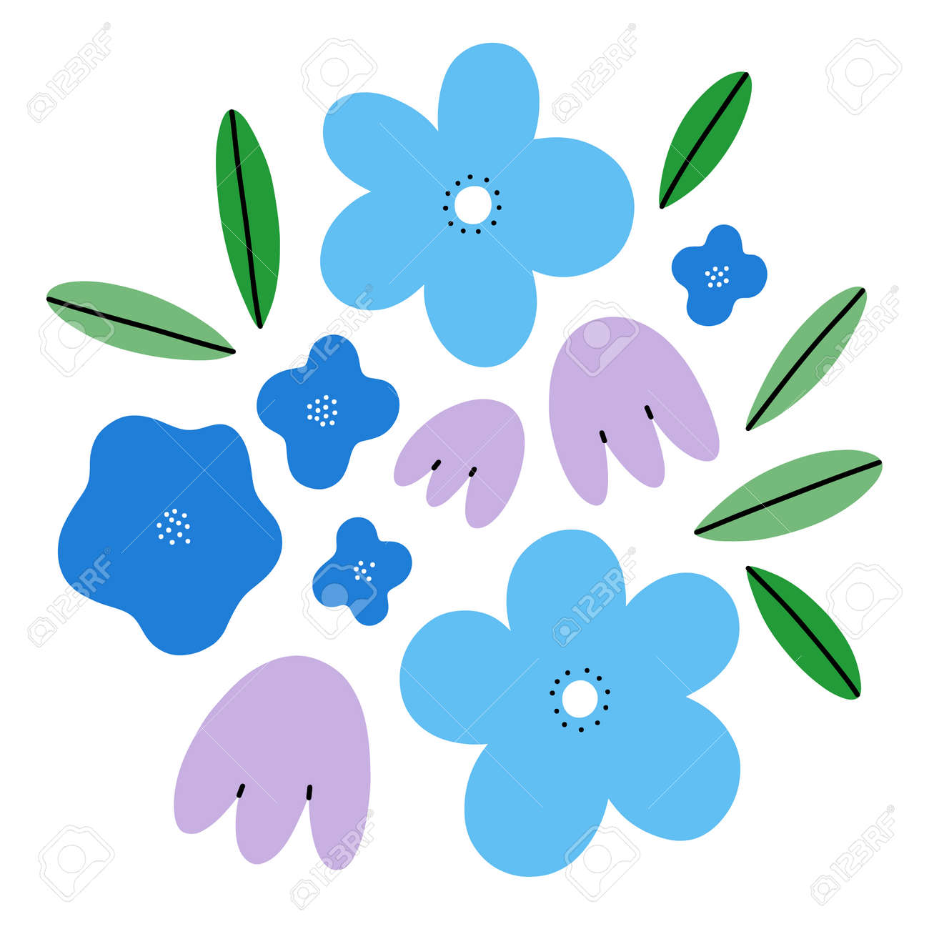 Abstract spring flowers simple vector composition, blue tones illustration, isolated on white background - 167479969