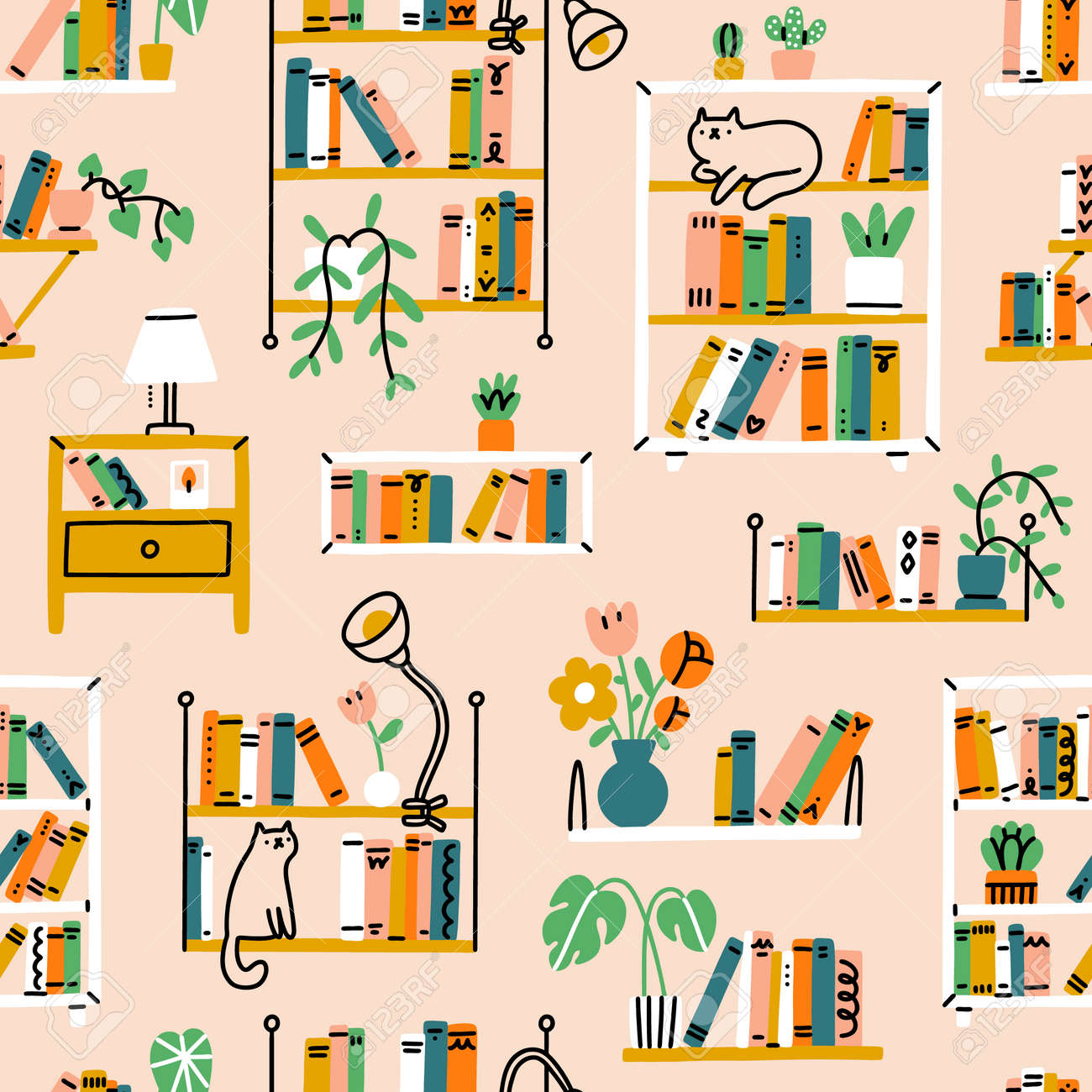 Home library aesthetic, different shelves and racks, house pants, and a few cats, vector seamless pattern - 170268190