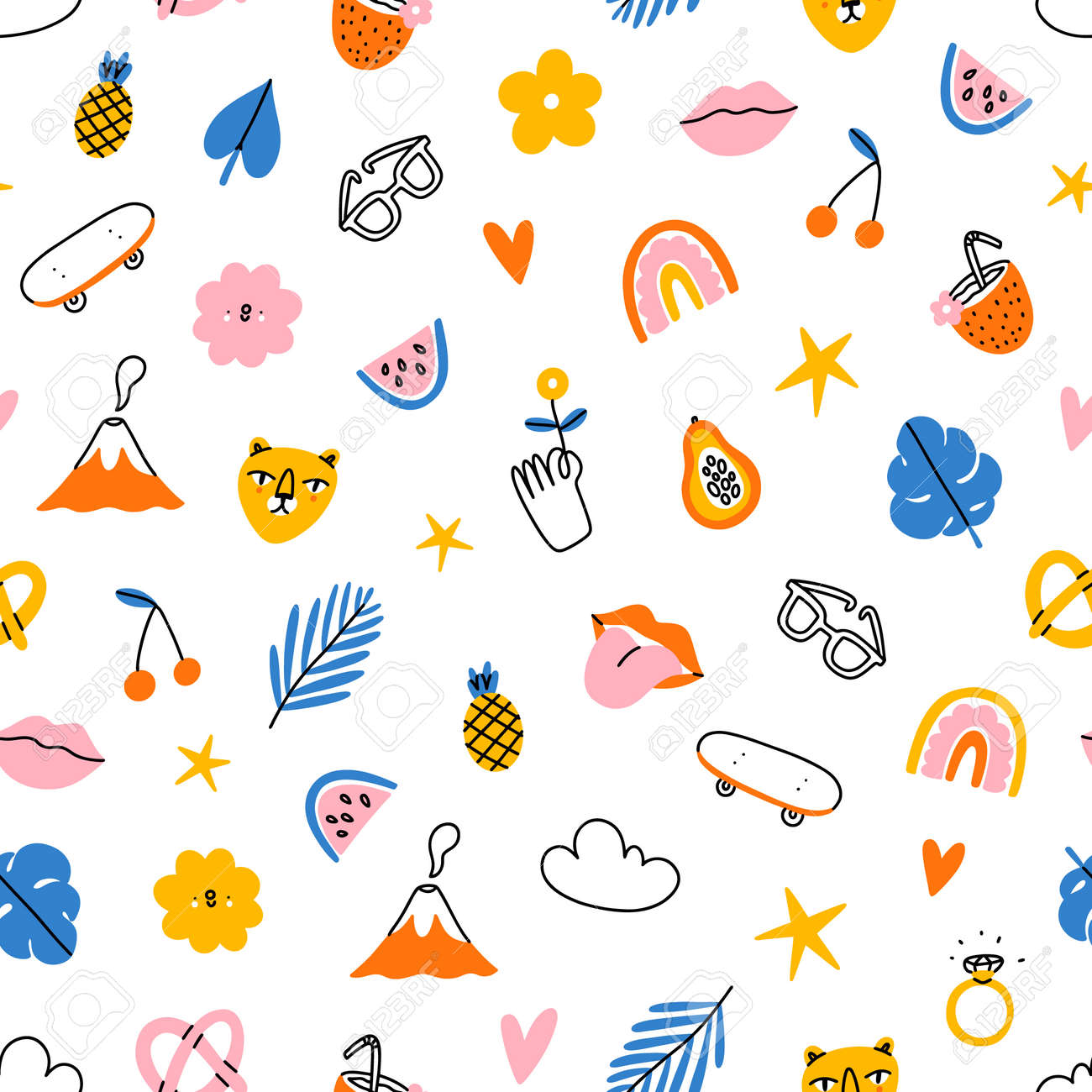 Funky and tropical summer, colorful hipster clip art, vector seamless pattern - 170268193