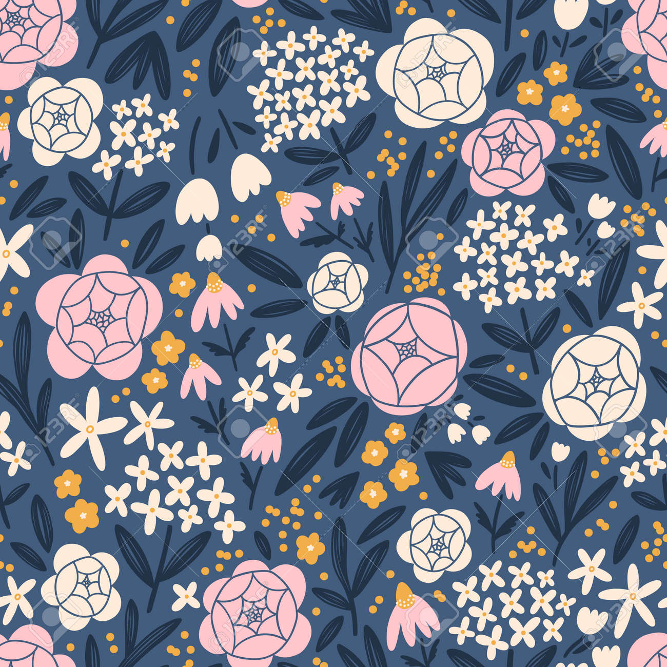 Hydrangeas, roses and other beautiful flowers bloom, vector seamless pattern - 170268194