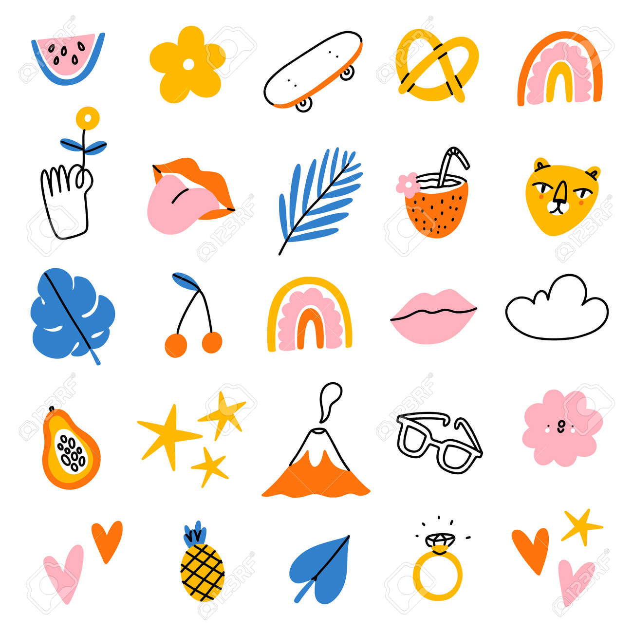 Funky tropical summer vector illustrations clip art, set of 20 icons, isolated on white background - 170268197