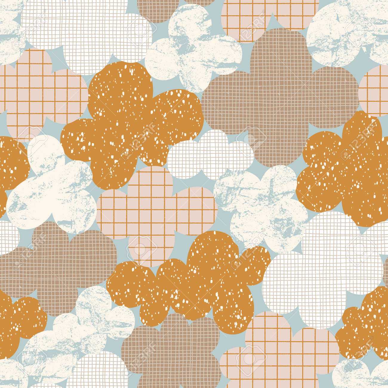 Abstract cloudscape, clouds with fun hand drawn textures, vintage vector seamless pattern - 170268195