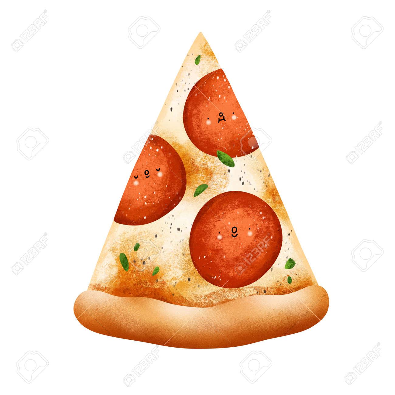 Cute cartoon style pepperoni pizza slice illustration, isolated on white background - 170268200