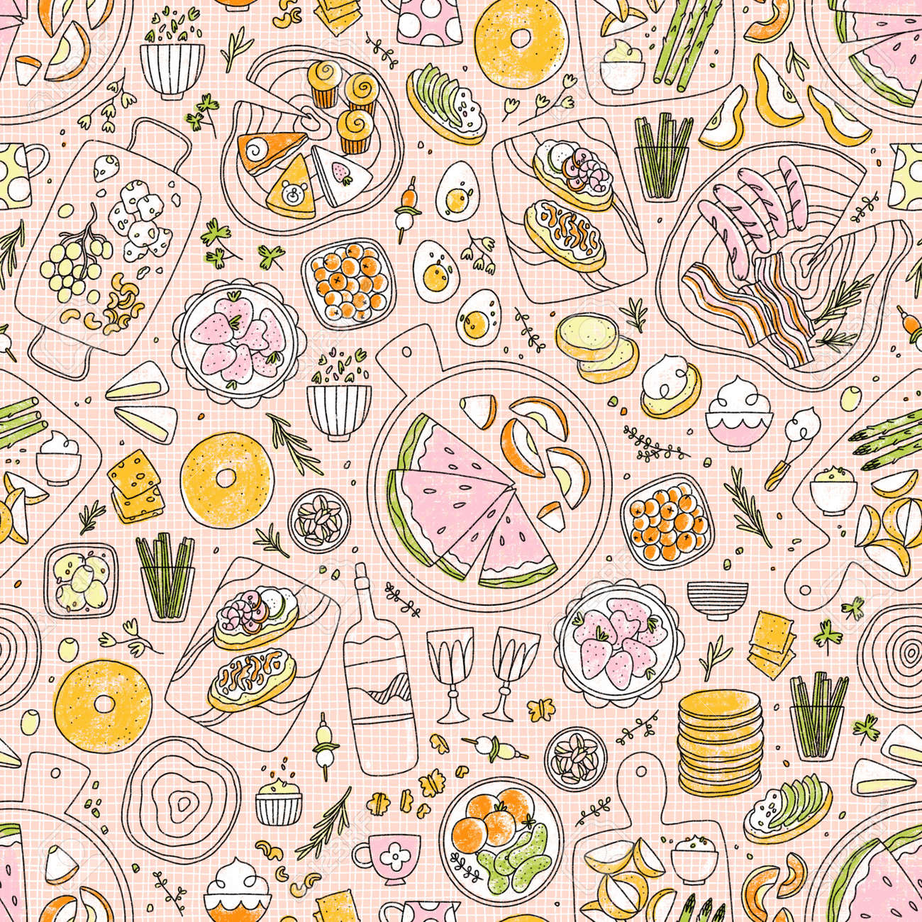 Modern charcuterie table with fruits, vegetables, different kinds of cheese, seamless pattern illustration, line art - 170268201