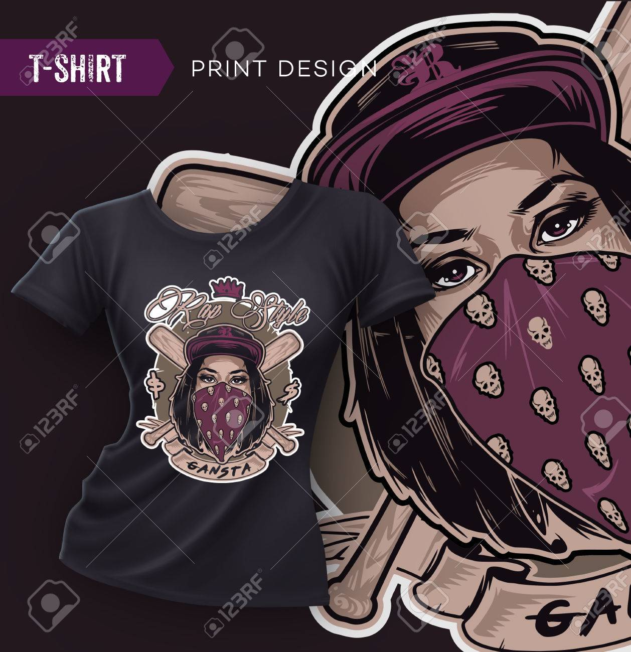 T shirt design hip hop - Swag T Shirt Design With Pretty Hip Hop Girl Face Vector Illustration Stock Vector