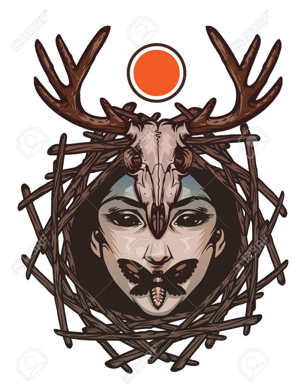 Trendy Emblem With Evil Girl Face Death S Head Moths And Deer