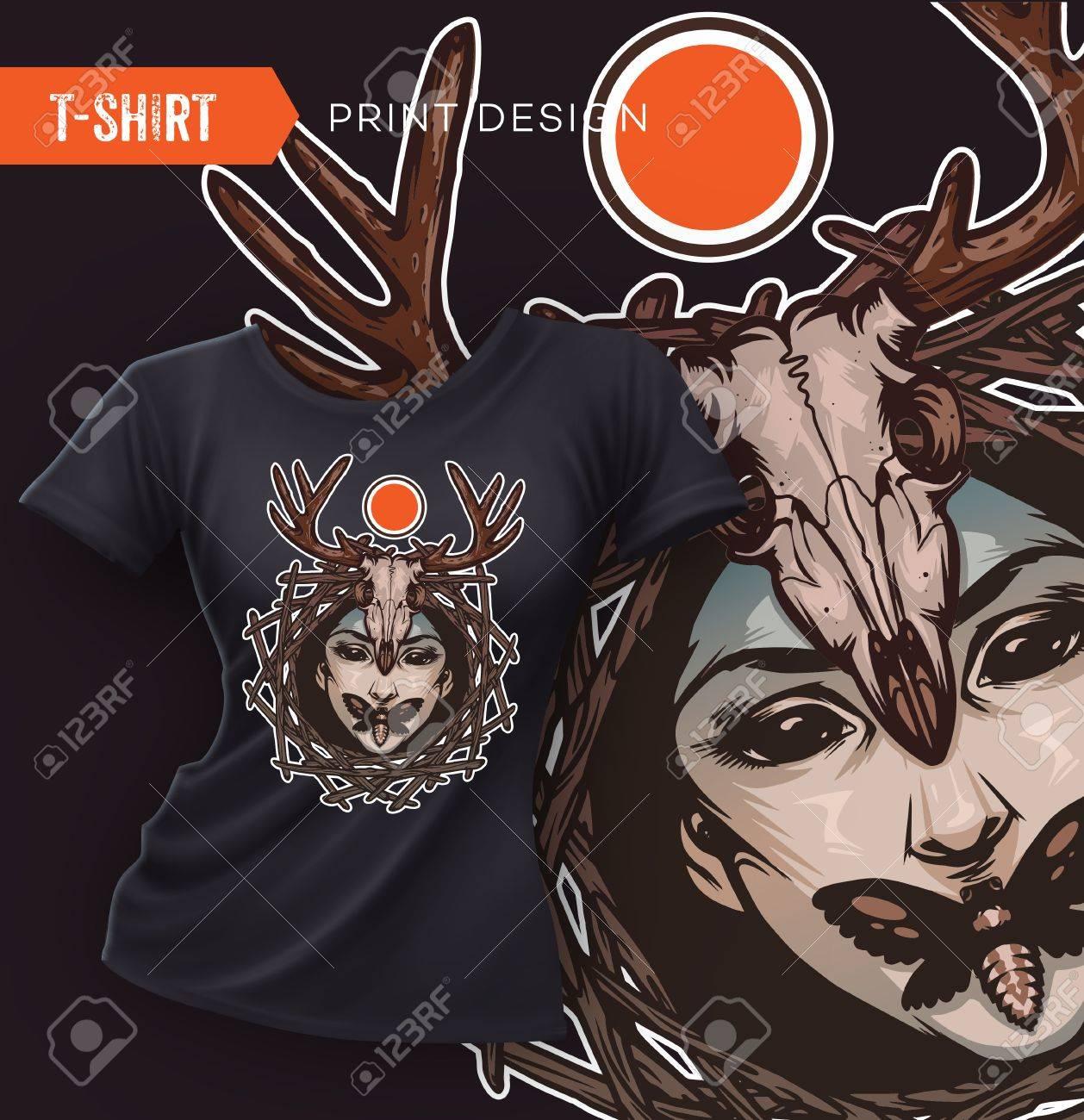 Swag Conception T Shirt Avec Le Visage Mal Fille Papillons Tête De Mort Et Crâne Cerfs Vector Illustration