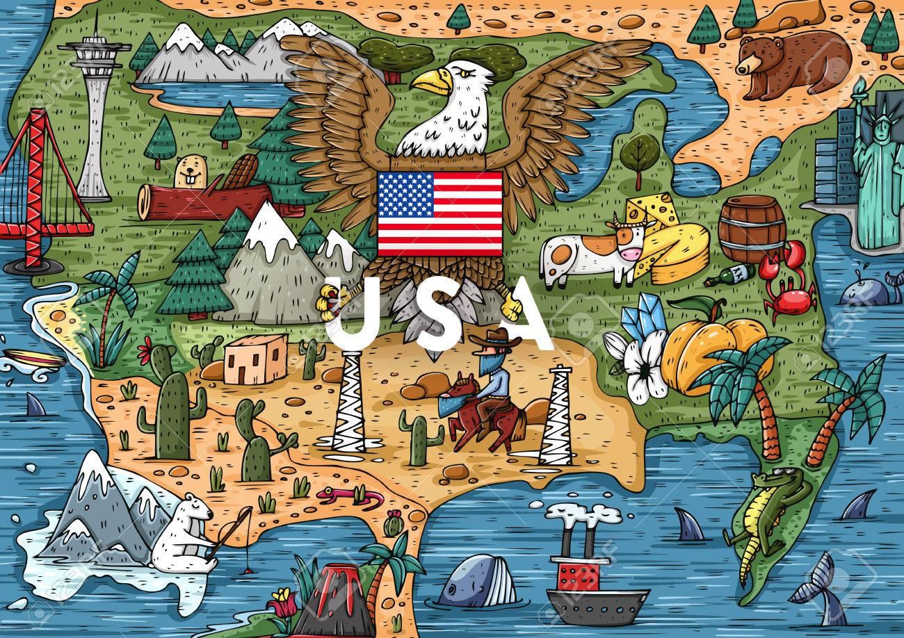 Lustige Hand Cartoon Usa Karte Mit Den Meisten Sehenswurdigkeiten
