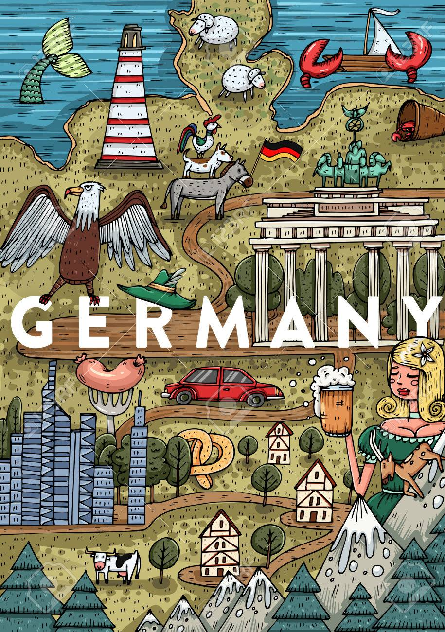 Funny Hand Drawn Cartoon Germany Map With Most Popular Places
