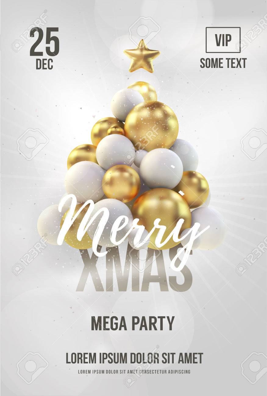 White Christmas Poster Or Flyer Template With Golden Christmas