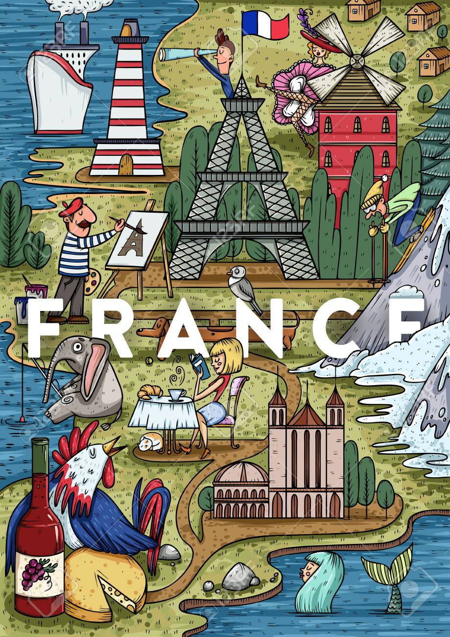 Map Of France Cartoon.Funny Hand Drawn Cartoon France Map With Most Popular Places