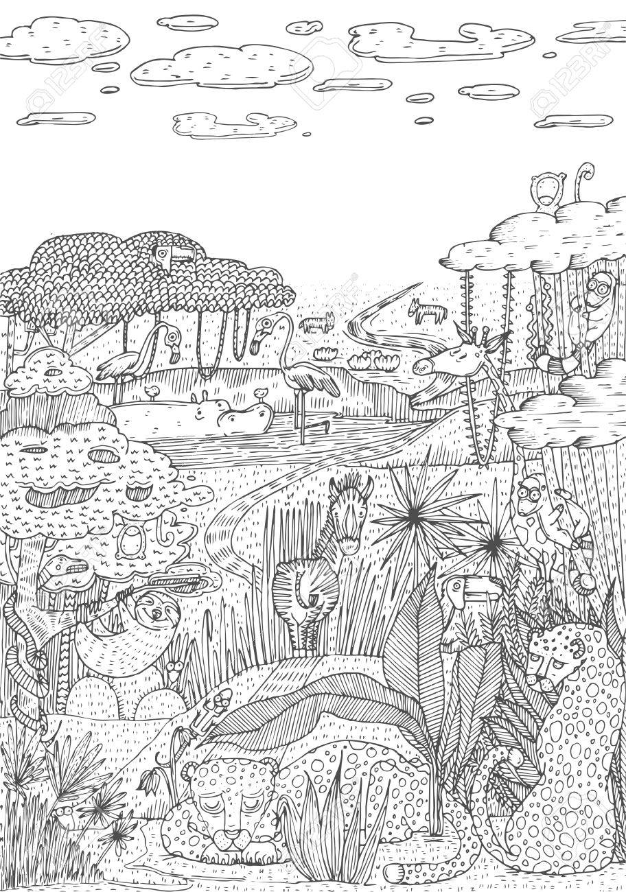 Wild life in jungle drawn in line art style. Coloring book page..