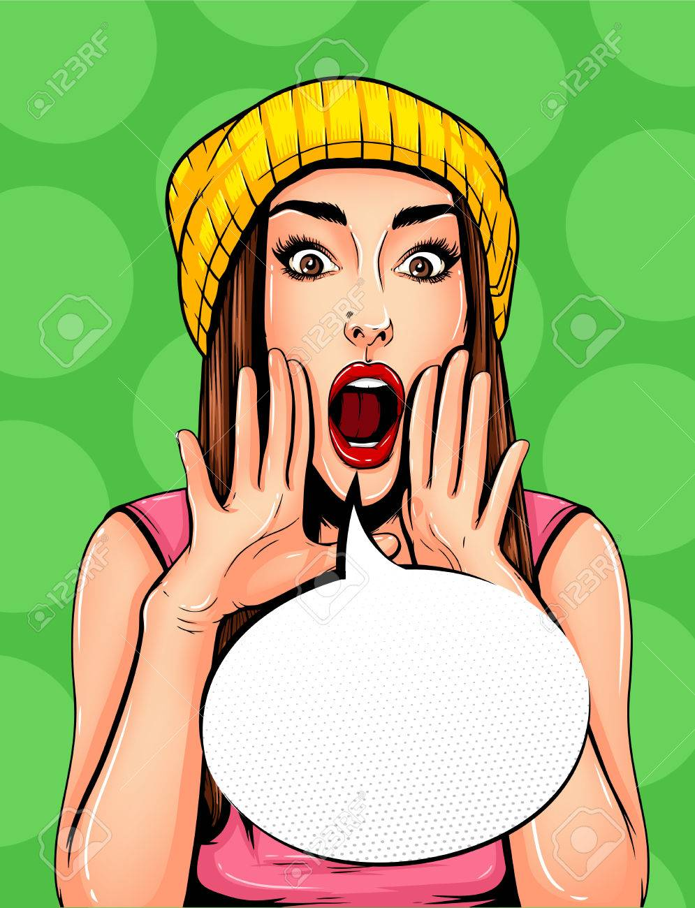 Pop Art Vintage advertising poster comic girl with speech bubble. Pretty girl announcing, telling a secret, shouting or yelling vector illustration - 68870394