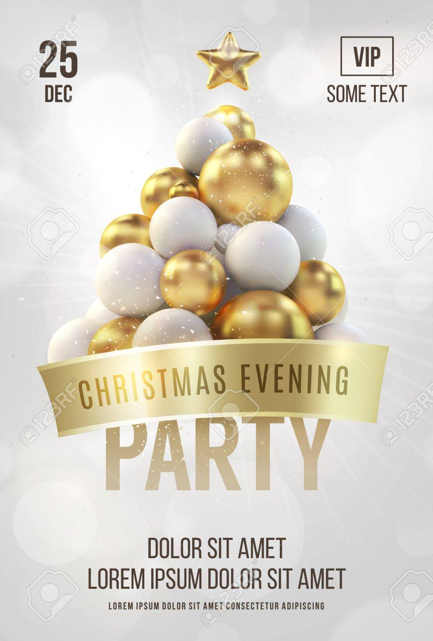 Christmas Flyer.White Christmas Poster Or Flyer Template With Golden Christmas