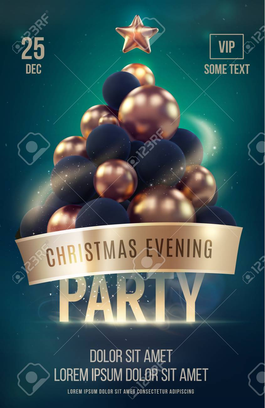 Christmas Poster Or Flyer Template With Golden Christmas Tree