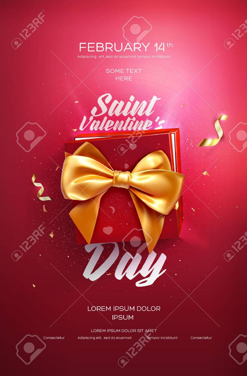 Happy Valentine's Day flyer or poster. Top view on gift box and bow with beautiful backdrop. Vector illustration - 70445995