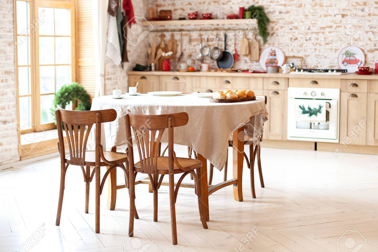 Bright Spacious Dining Room With Large Wooden Oval Table Room Stock Photo Picture And Royalty Free Image Image 138047706
