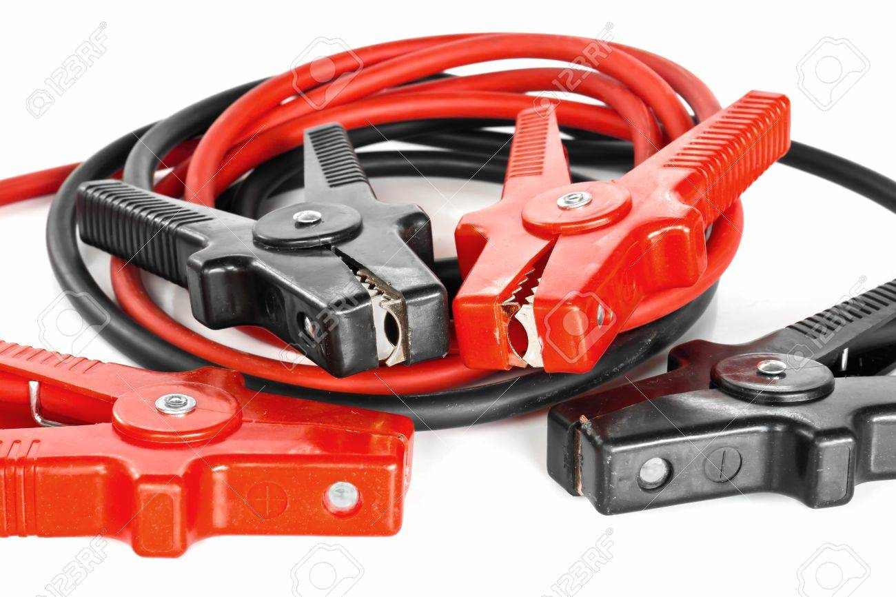 Car battery jumper cables over white background Stock Photo - 10814540