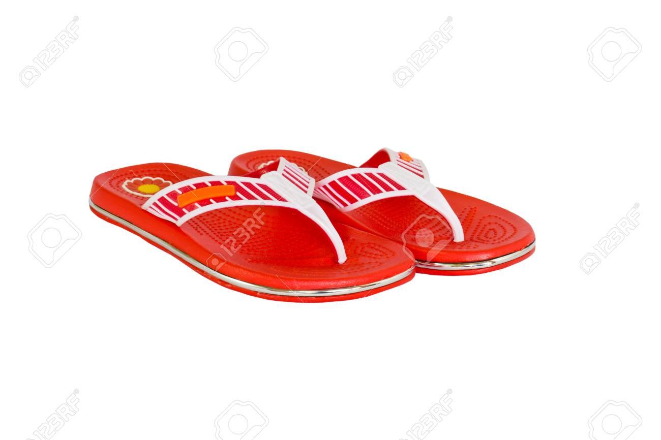3e79614ed857 Orange flip-flops on a white background Stock Photo - 11076021