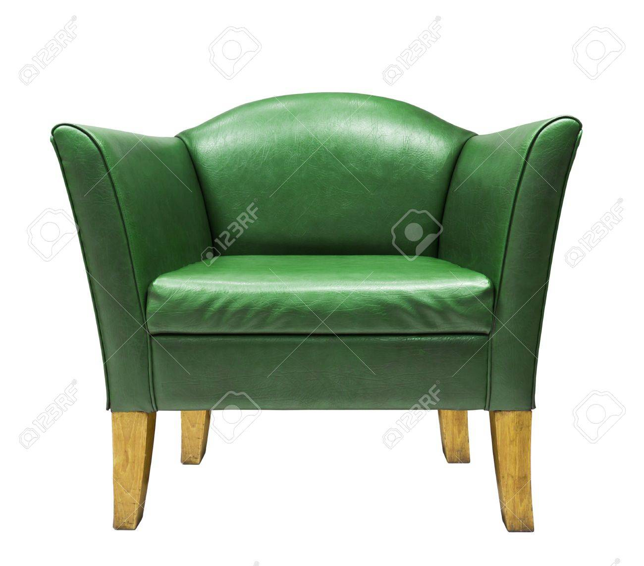Expensive green leather armchair isolated on white background Stock Photo - 13209826