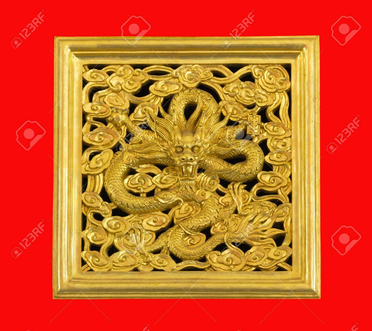 Ancient statue of golden dragon on red background Stock Photo - 14160714