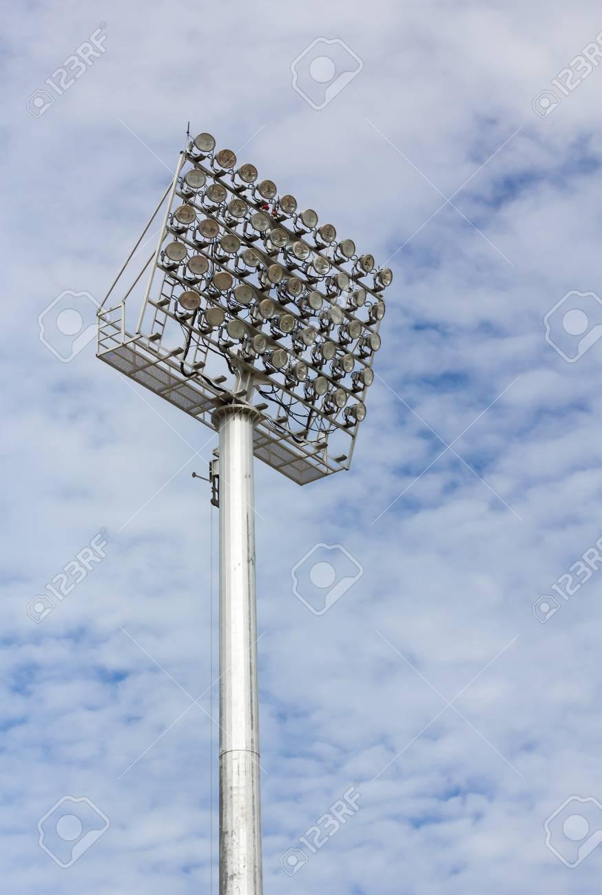 The Stadium Spot-light tower over Blue Sky Stock Photo - 15381106