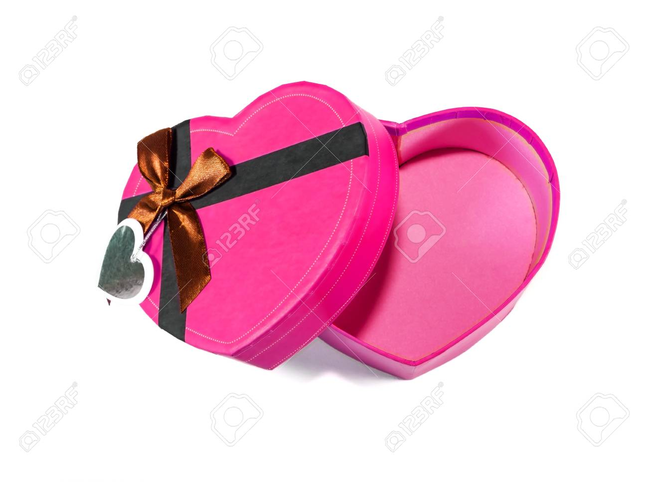 Pink Heart-shaped box in heart shape on white background Stock Photo - 17214705
