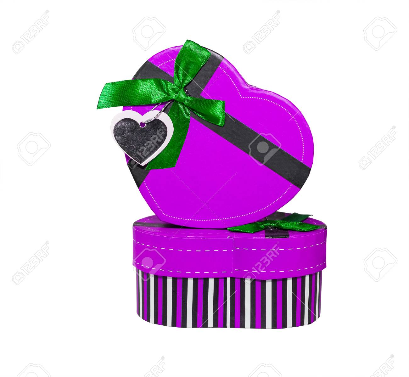 Violet Heart shaped box in heart shape on white background Stock Photo - 17682445