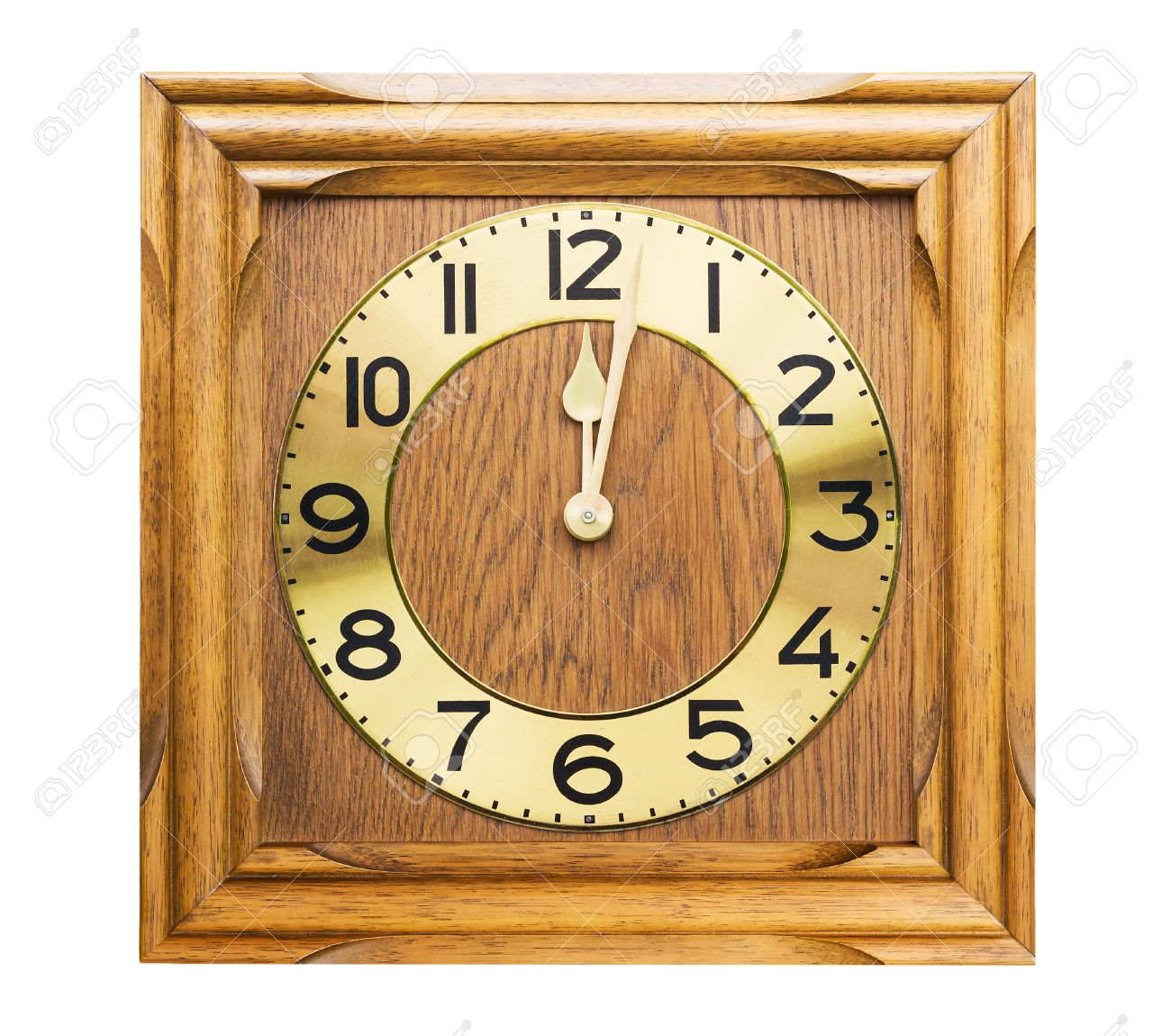 Old antique wall clock is handmade woodcraft on white Stock Photo - 23070159