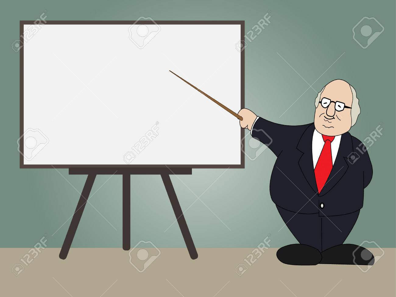 professor presentation on whiteboard in classroom vector