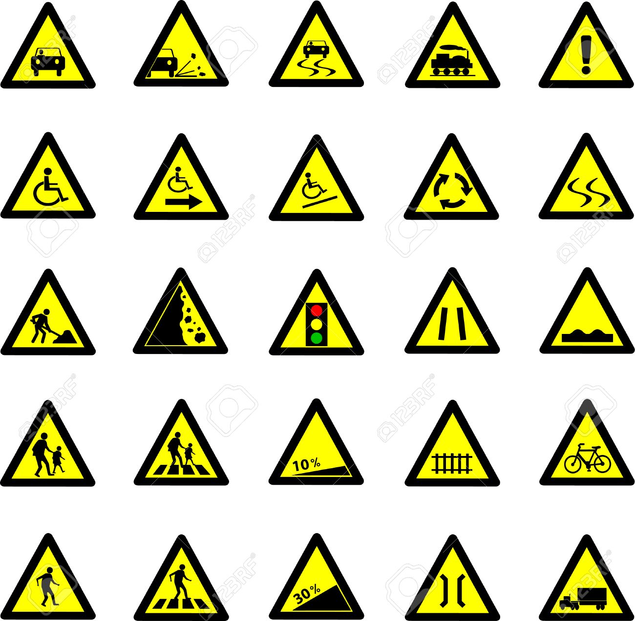 Vector Illustration Of Triangle Black And Yellow Road Signs