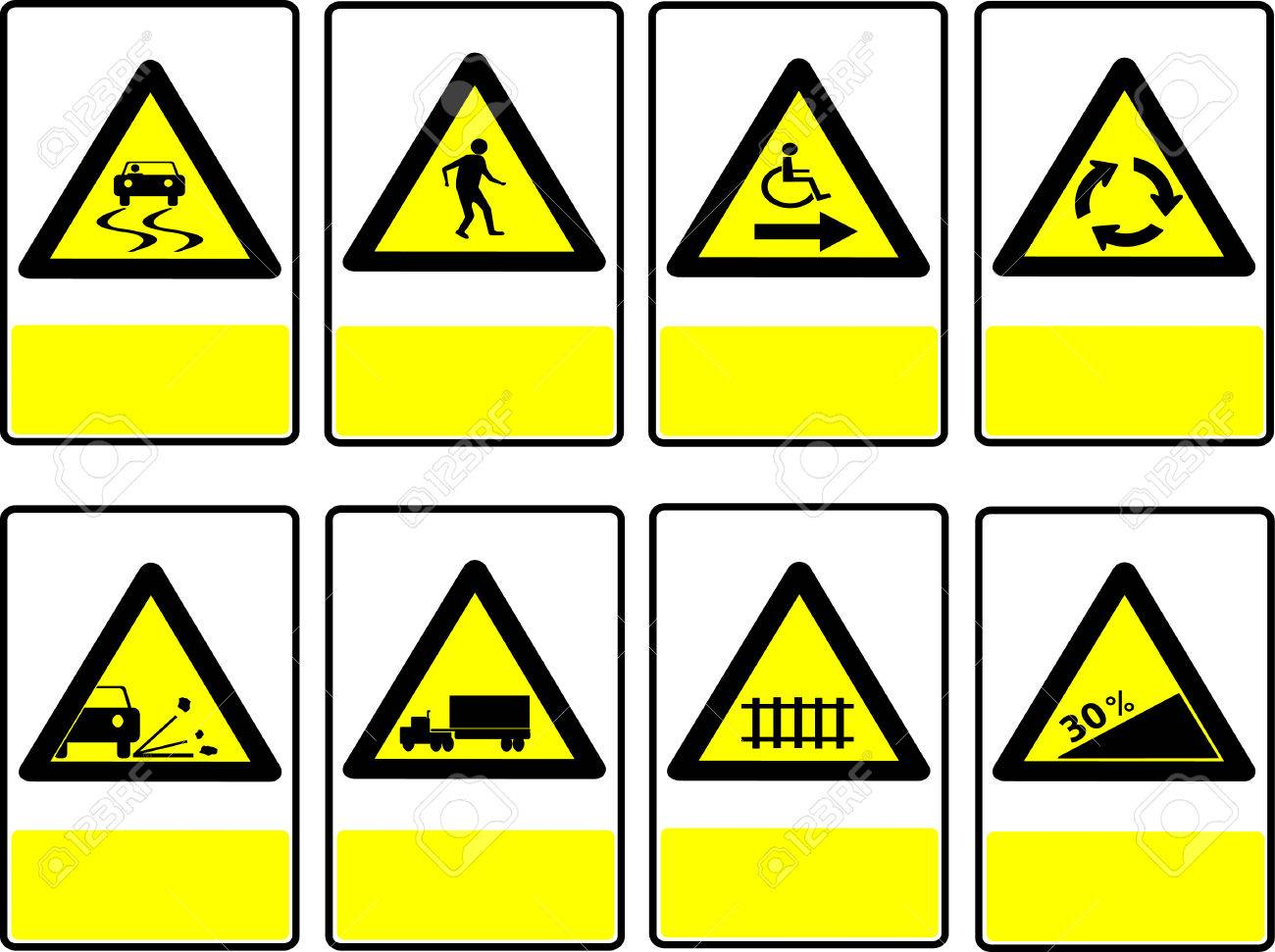 Road Signs Yellow Box Black Triangle