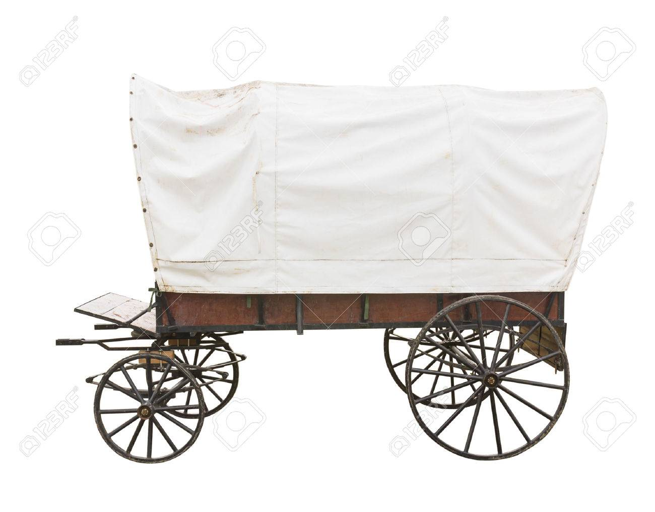 Covered Wagon With White Top Isolated On White Background Stock ...