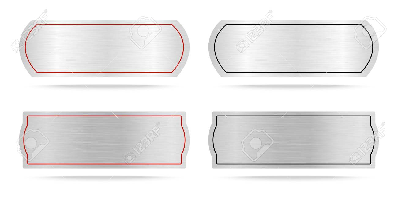 Vector Metallic Labels Or Metal Name Plate Royalty Free Cliparts Vectors And Stock Illustration Image 43977128