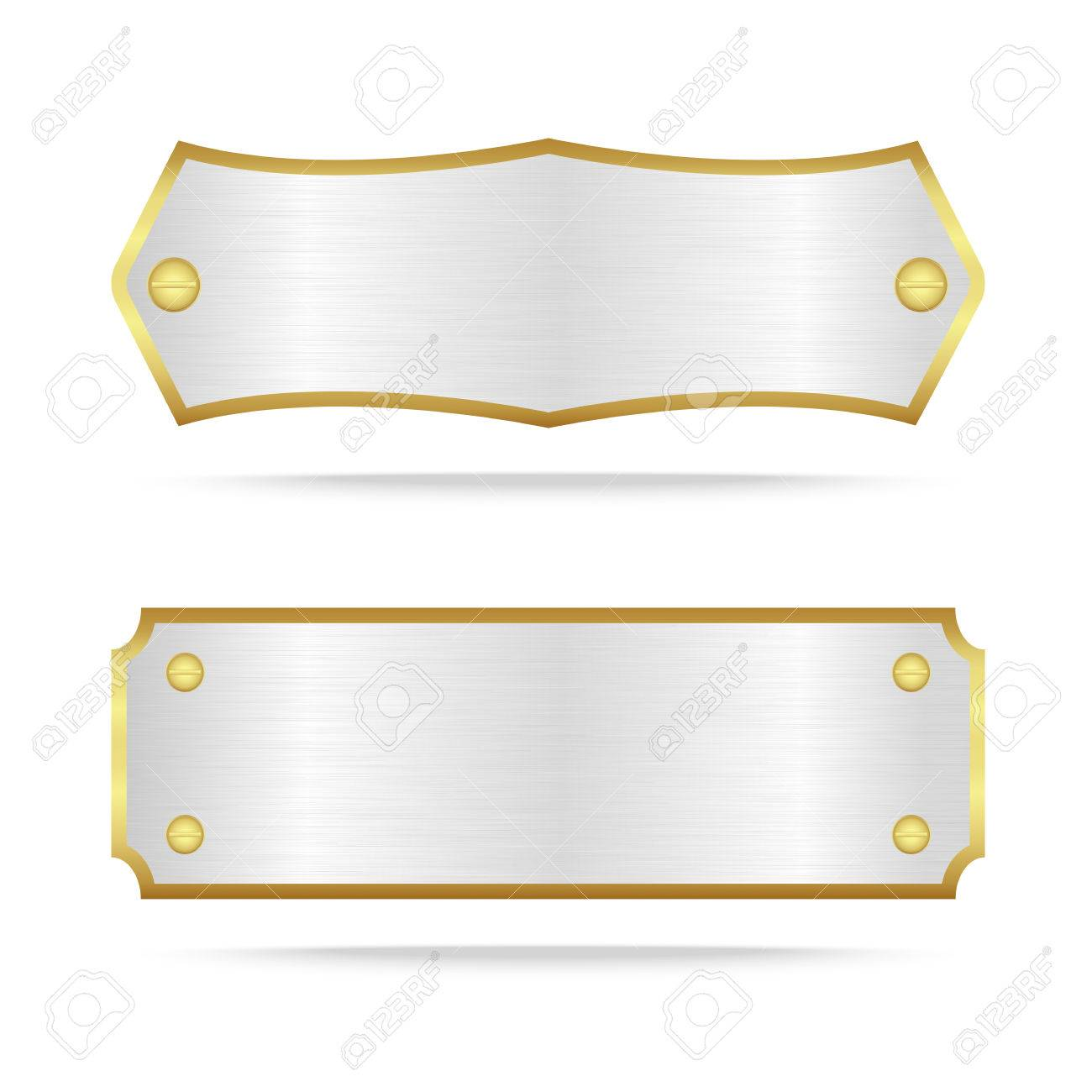 Vector Silver And Gold Metal Name Plate Or Silver Metal Label Royalty Free Cliparts Vectors And Stock Illustration Image 60239617