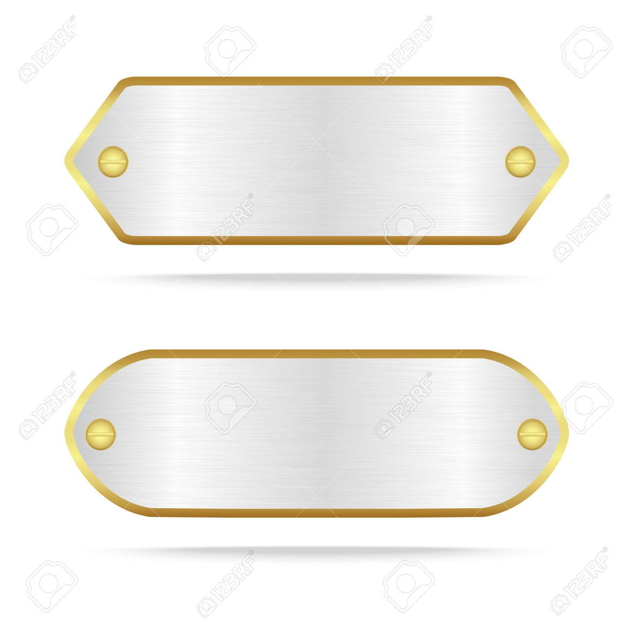 Vector silver and gold metal name plate or Silver metal label with screw.Vector illustration - 60239576