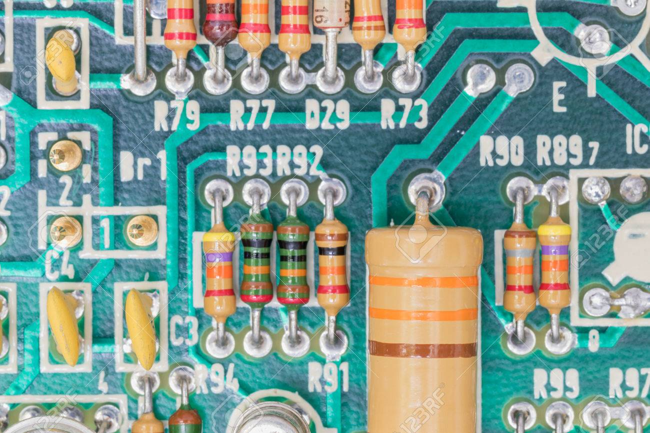 Closeup Electronic Hardware Resistor And Condensers Assembly Circuit Board On The Stock Photo 61130833