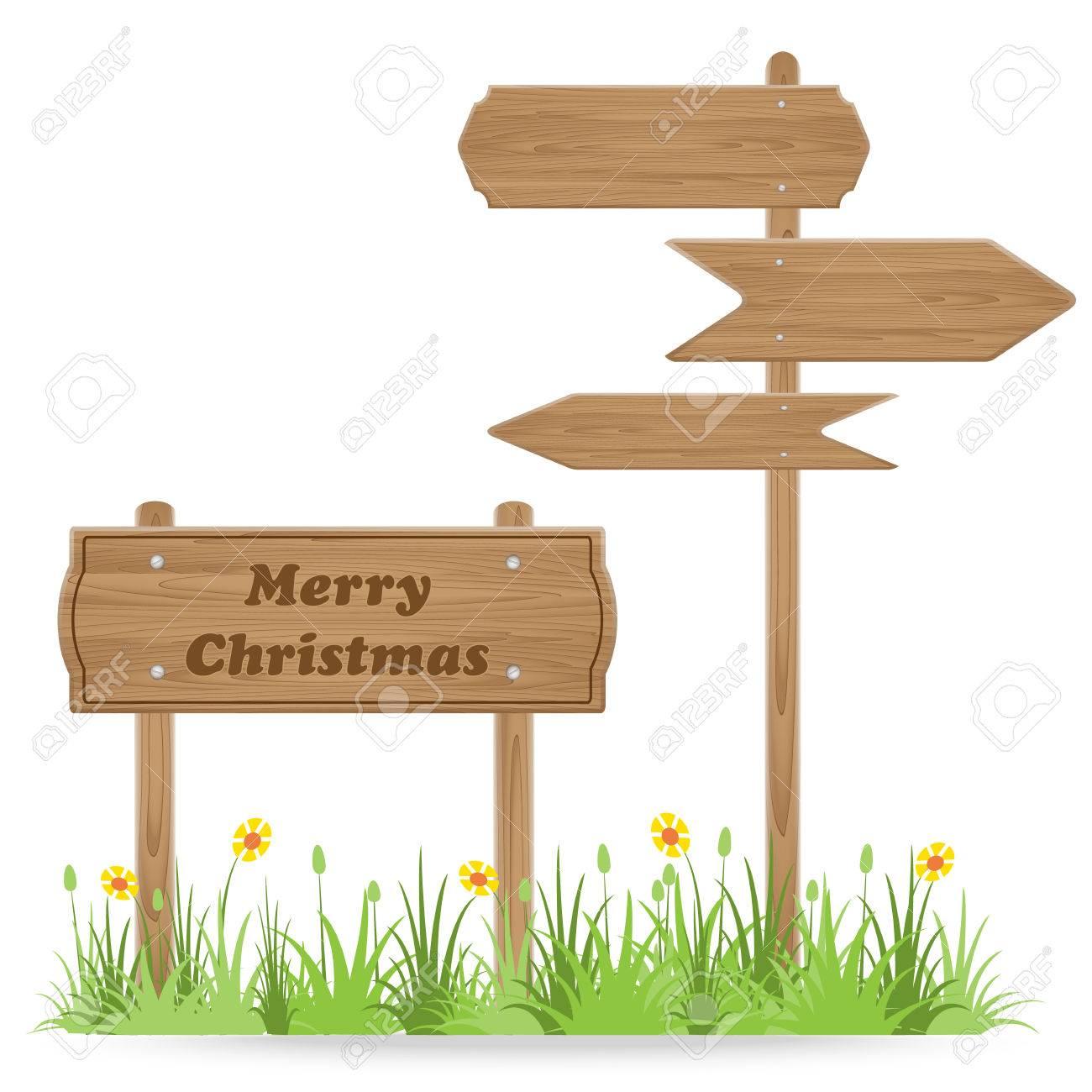 Texte Joyeux Noël Sur Panneau En Bois Avec Herbe Fleur Isolé Sur
