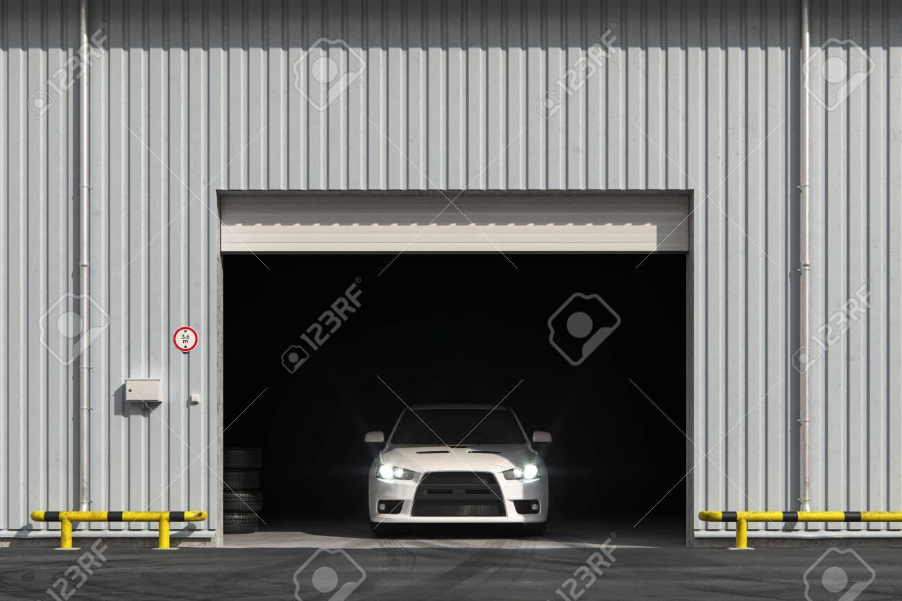 Car in the garage with roller shutter door. 3d render - 140455971