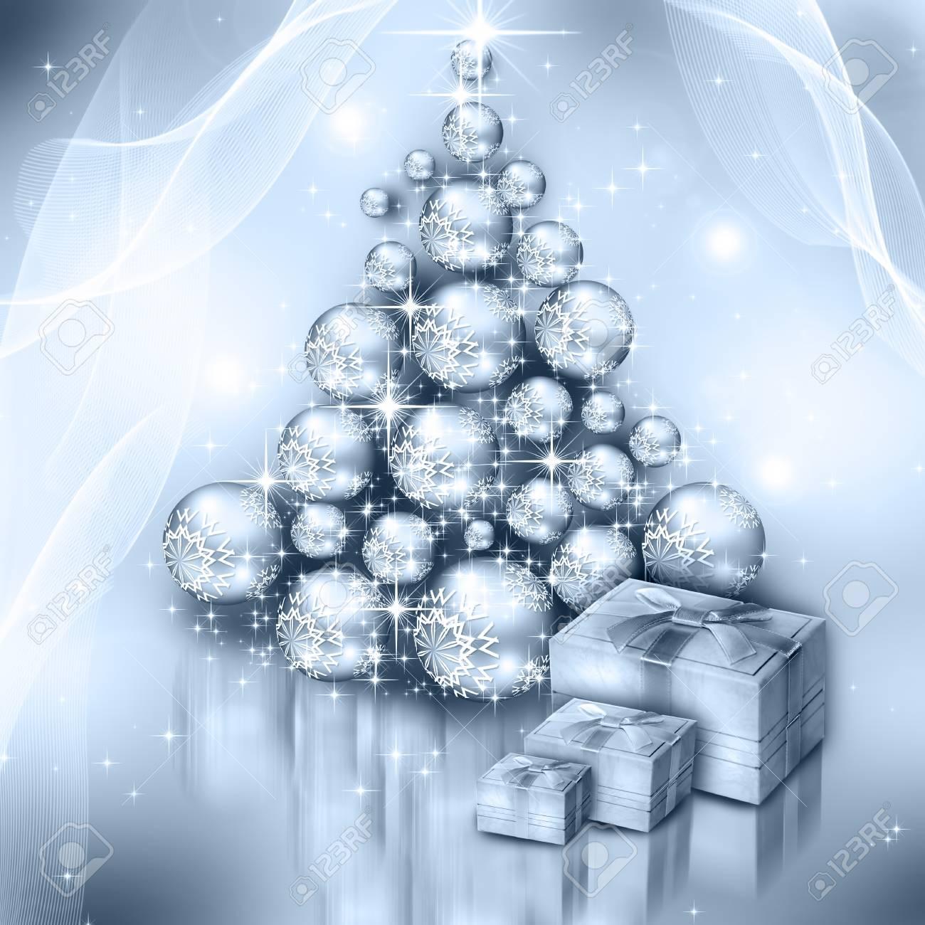 Weihnachten Silber Baum, Schöne Schneeflocken Und Leuchtenden ...