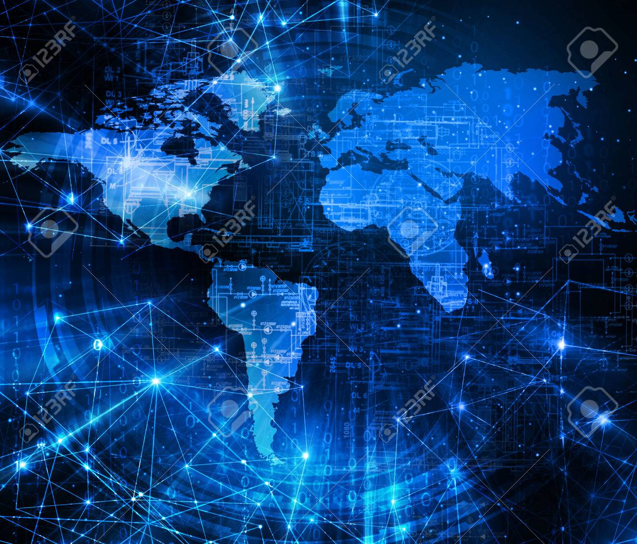 World map on a technological background glowing lines symbols stock photo world map on a technological background glowing lines symbols of the internet radio television mobile and satellite communications gumiabroncs Gallery