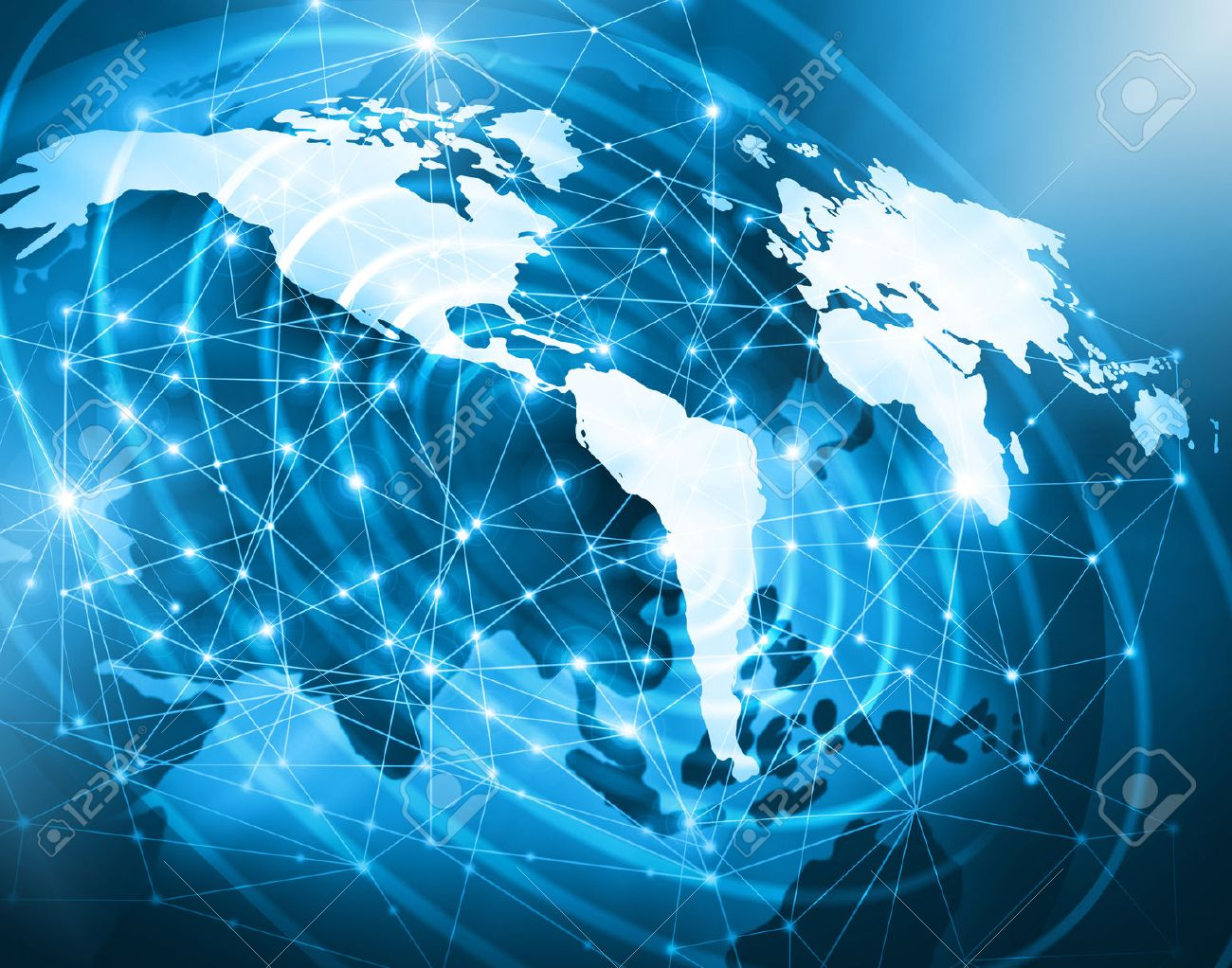 World map on a technological background, glowing lines symbols of the Internet, radio, television, mobile and satellite communications. Internet Concept of global business. - 51271415