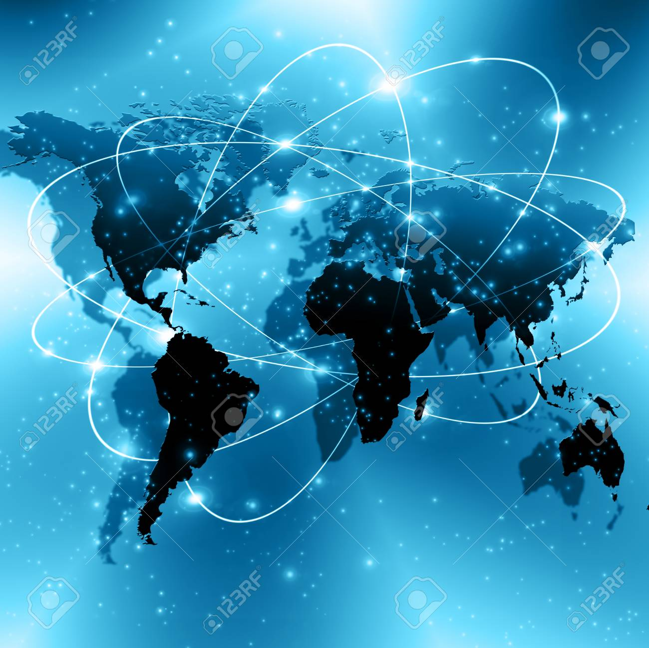 World map on a technological background glowing lines symbols stock photo world map on a technological background glowing lines symbols of the internet radio television mobile and satellite communications gumiabroncs Images