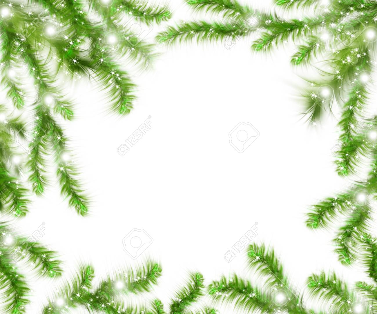 Christmas Tree Branches And Space For Text. Realistic Fir-tree ...