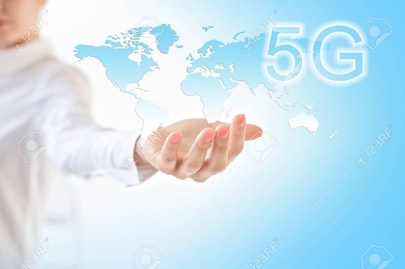 5G k Internet mobile wireless concept  Map from hands  Best Internet